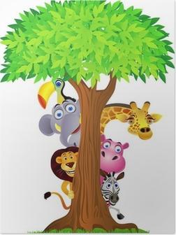 Plakat Ukrywanie zwierzę za drzewo