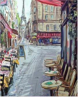 Plakat Ulica w Paryżu - ilustracja