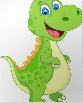 Plakat Uroczy dinozaur kreskówki