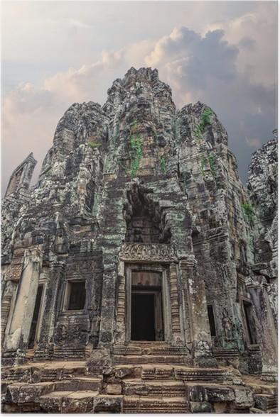 Plakát Úžasná architektura starověkého chrámu Bayon v Kambodži - Památky