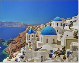 Plakát Úžasné bílo-modrá Santorini