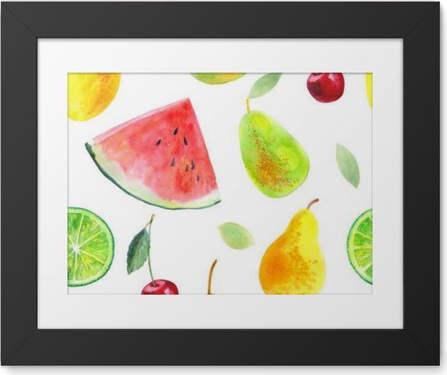 Plakát v rámu Bezproblémové vzorek s fruit.Watermelon citroník vápno hrušek a cherry.Food picture.Watercolor rukou nakreslený obrázek. - Jídlo