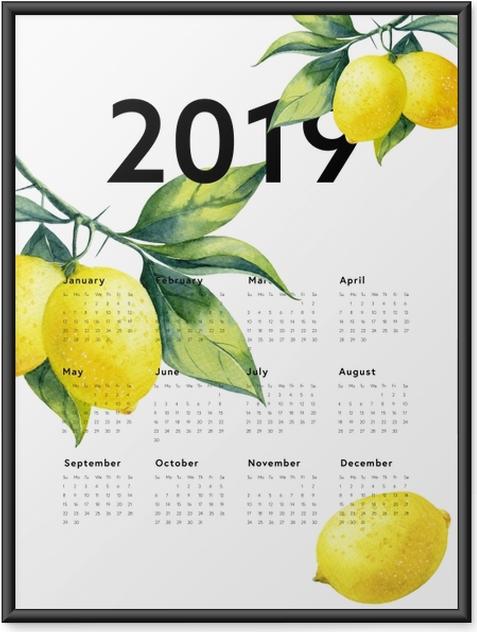 Plakát v rámu Kalendář 2019 - citrony -