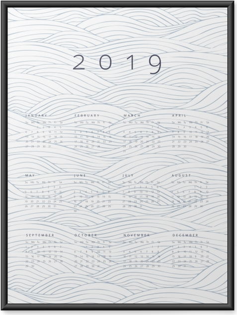 Plakát v rámu Kalendář 2019 - vlny -