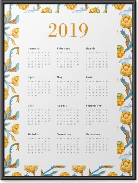 Plakát v rámu Kalendář 2019 - Žluté květy -