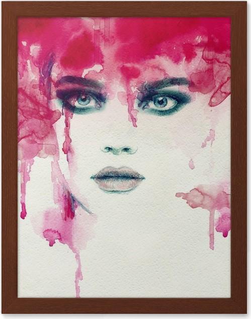 Plakát v rámu Krásná žena. akvarel ilustrace - Lidé
