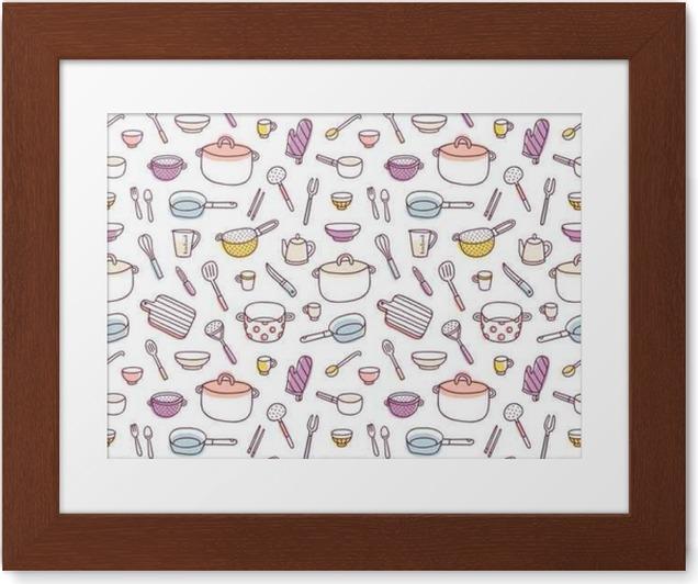 Plakát v rámu Kuchyňské a kuchyňské náčiní doodle bezešvé vzor - Grafika