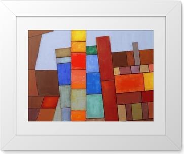 Plakát v rámu Malovaný Abstraktní koláž