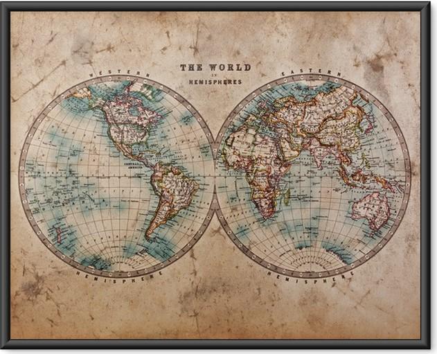 Plakát v rámu Stará mapa světa v hemisfér - Témata