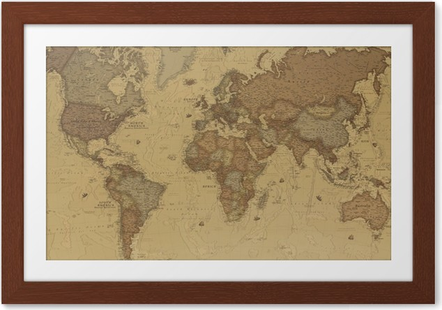Plakát v rámu Starověká mapa světa - iStaging