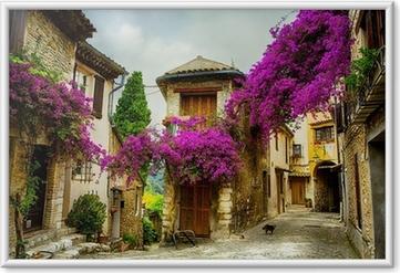 Plakát v rámu Umění, krásné staré město z Provence