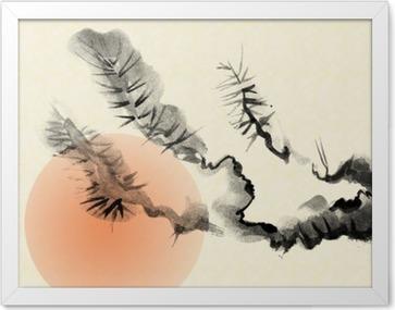 Plakát v rámu Větví starého Pine strom navržený ve stylu sumi-e.