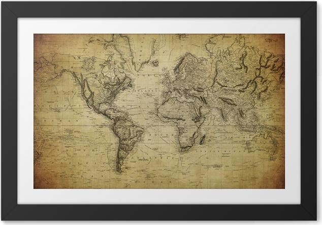 Plakát v rámu Vintage mapa světa 1814 .. - Témata