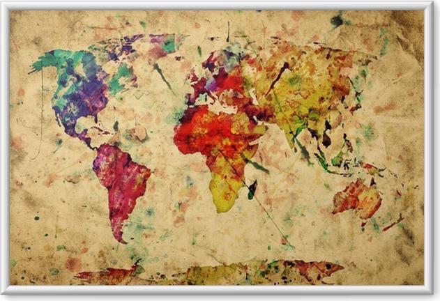Plakát v rámu Vintage mapa světa. Barevný barva, akvarel na papíře grunge -