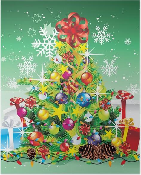 Plakát Vánoční strom s dárky vektoru - Mezinárodní svátky