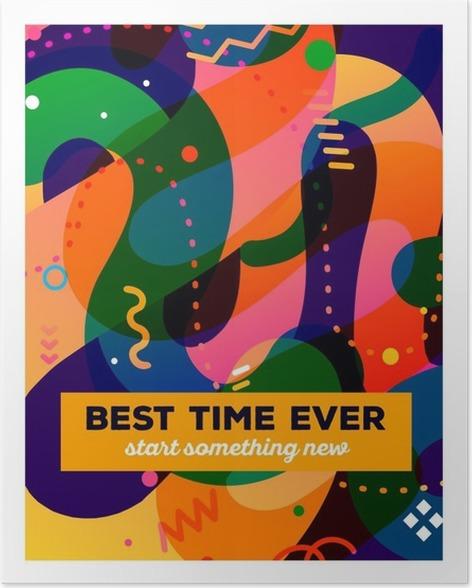 Plakat Vector Ilustracji Kolorowych Abstrakcyjnych Kompozycji Z Tekstem O