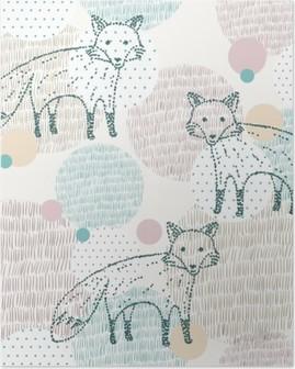Plakát Vector tažené bezešvé geometrický vzor s liškou