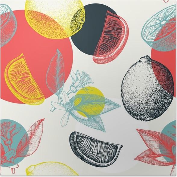 Plakát Vektorové bezproblémové vzorek s inkoustem ručně kreslenými lipového ovoce, květiny, řez a listy skicu. Vintage citrusové pozadí v pastelových barvách -