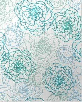 Plakát Vektorové modré květy PÉROVKY elegantní bezešvé vzor na pozadí