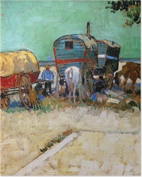 Plakat Vincent van Gogh - Cygańskie obozowisko z wagonami - Reproductions