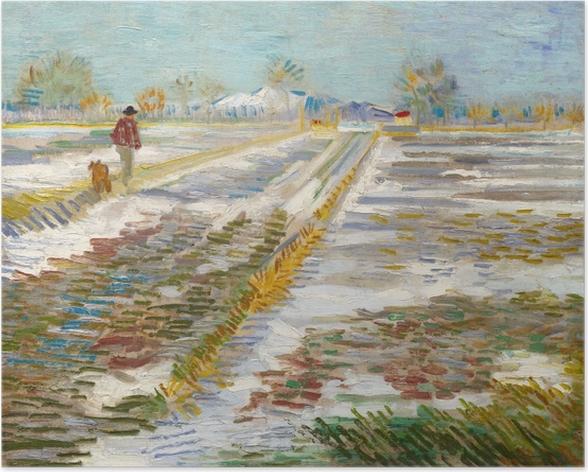 Plakat Vincent van Gogh - Krajobraz ze śniegiem - Reproductions