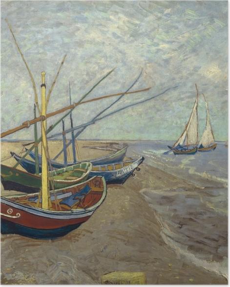 Plakat Vincent van Gogh - Łodzie rybackie na plaży Saintes-Mariedela-Mer - Reproductions