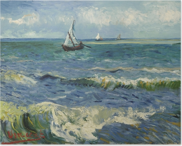 Plakat Vincent van Gogh - Widok morza w Saintes-Maries - Reproductions