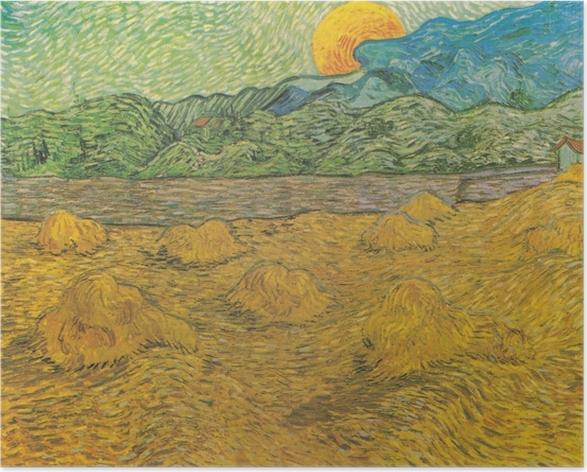 Plakat Vincent van Gogh - Wieczorny krajobraz z księżycem - Reproductions