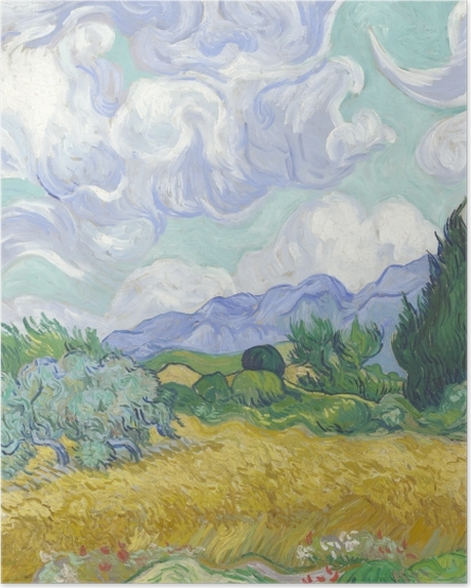 Plakat Vincent van Gogh - Zielone pole z cyprysem - Reproductions