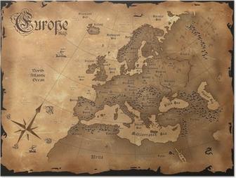 Plakat Vintage, mapa Europy pozioma