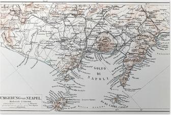 Plakat Vintage mapa okolicy Neapolu pod koniec 19 wieku