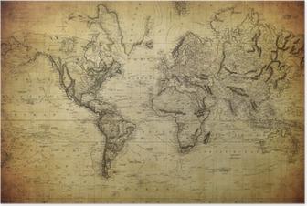 Plakat Vintage, mapa świata 1814 ..