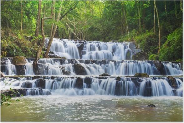 Plakát Vodopád v národním parku Namtok Samlan, Saraburi, Thajsko - Outdoorové sporty