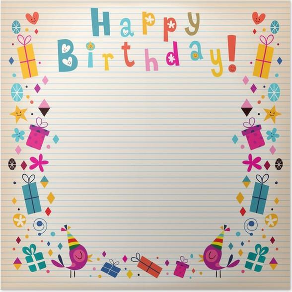Plakát Všechno nejlepší k narozeninám hranice linkovaný papír retro karty - Slavnosti