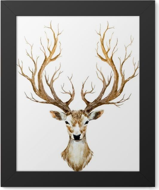 Plakat w ramie Akwarele ręcznie rysowane jelenia - Zwierzęta