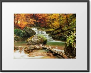 Plakat w ramie Jesienią creek lasy z żółtym drzew