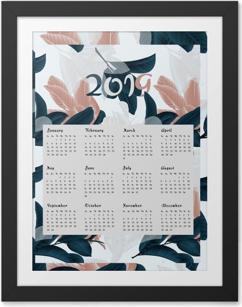 Plakat w ramie Kalendarz 2019 - kwiaty - Kalendarze 2018