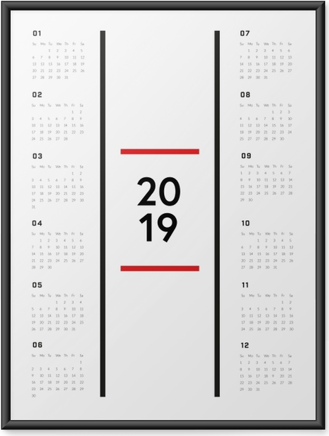 Plakat w ramie Kalendarz 2019 - Minimalistyczny - Kalendarze 2018