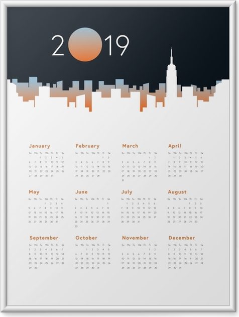 Plakat w ramie Kalendarz 2019 - panorama miasta - Kalendarze 2018