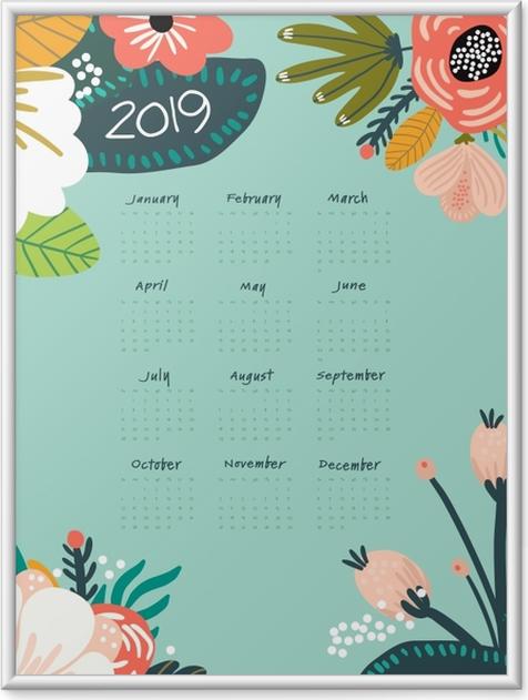 Plakat w ramie Kalendarz 2019 - turkus i kwiaty - Kalendarze 2018
