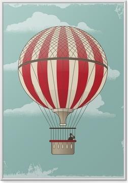 Plakat w ramie Rocznika balonem - wektor projektowania