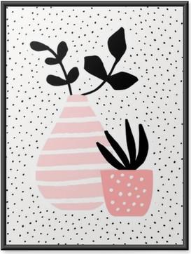 Plakat w ramie Różowy wazon i pot z roślinami