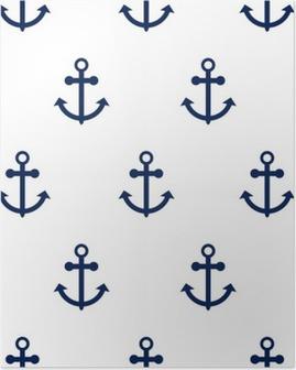 Plakat Wektor bez szwu deseniu z kotwic morskich. Sea motyw kotwicy prosty ciemnoniebieski powtarzania białe tło.