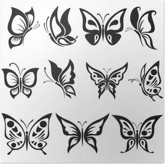 Plakat Zestaw Czarno Białe Motyle Tatuaż Pixers żyjemy