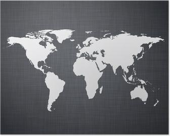 Plakát White mapa světa.