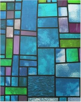 Plakat Wielobarwny barwiona na niebiesko szyba, kwadratowy format