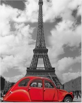 Plakat Wieża Eiffla z czerwonym starym samochodem w Paryżu, Francja