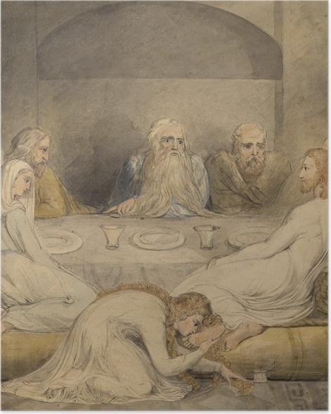 Plakat William Blake - Jawnogrzesznica namaszcza nogi Jezusowi - Reprodukcje