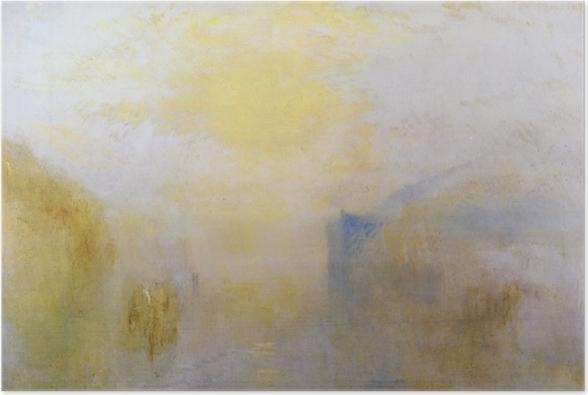 Plakat William Turner - Wschód słońca z łodzią pomiędzy cyplami - Reprodukcje