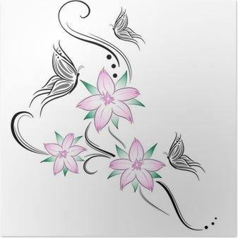Plakat Tatuaż Kwiaty Wiśni I Motyle Pixers żyjemy By